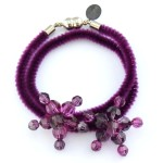 Purple Velvet Double Bracelet adorned with Swarovski crystals
