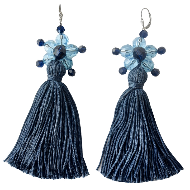 Jewel Tassel Drop Earrings Navy 10cm - Navy Tassels - Aquamarine / Dark blue Swarovski crystals - Sterling silver lever back