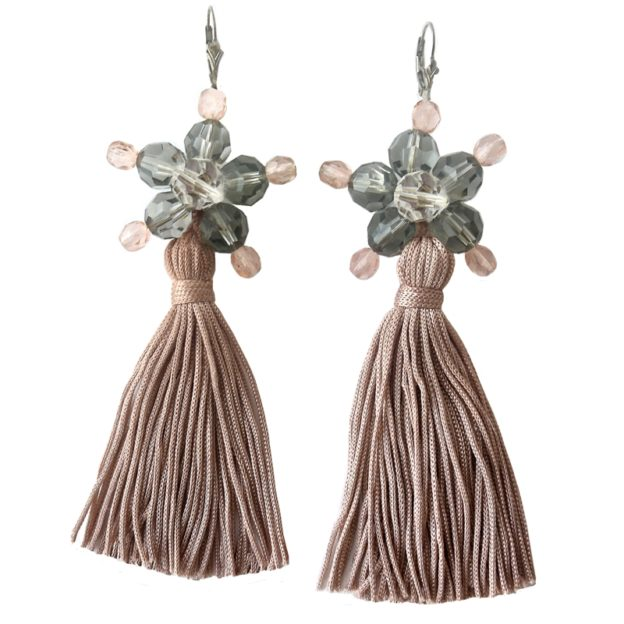Jewel Tassel Drop Earrings Pink 10cm - Pink Tassels - Crystal / Black diamond Swarovski crystals - Sterling silver lever back