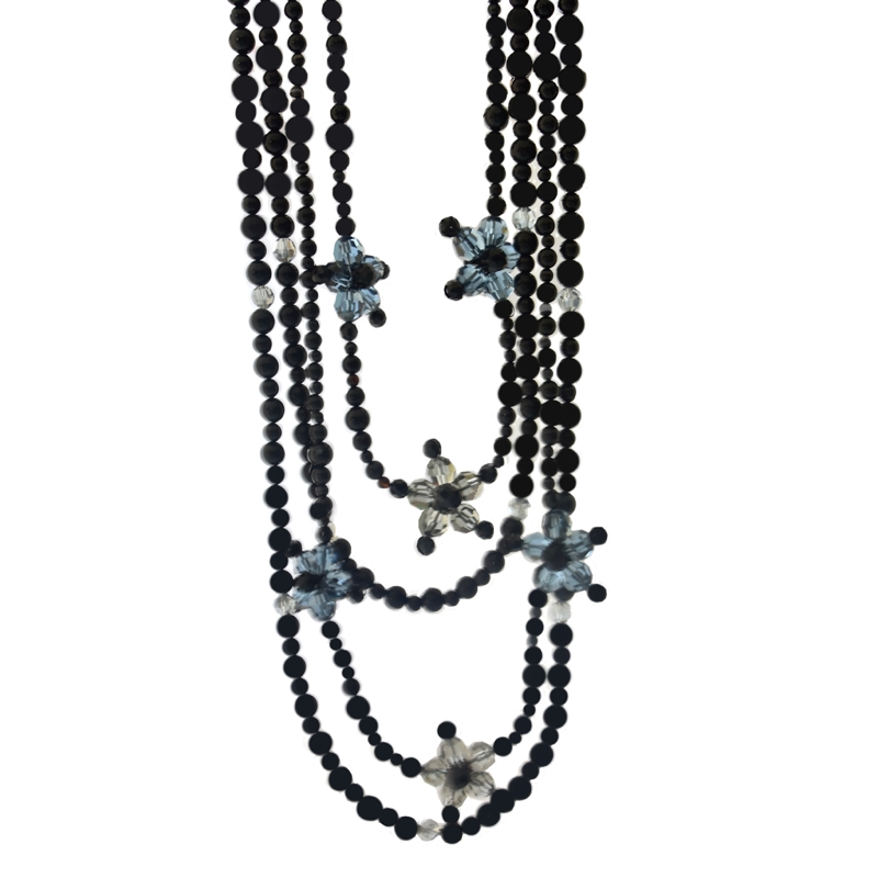 Montana Blue long necklace - Black agate gem beads - Montana blue / Black diamond Swarovski crystals - Magnetic clasp