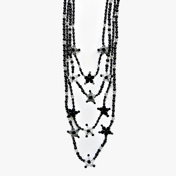 Black long necklace - Black agate gem beads - Crystal / Black diamond / Jet Swarovski crystals - Magnetic clasp