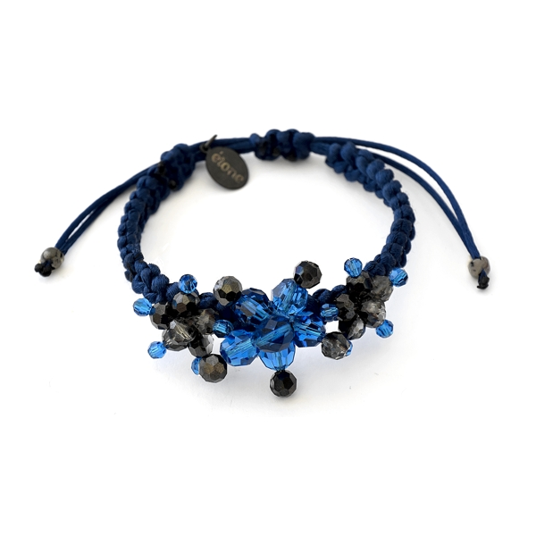 Capri Blue braided bracelet - Capri Blue / Silver Night Swarovski crystals