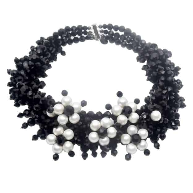 Jewel Crystal Choker Pearls - 3 strands - Shell pearl jewels
