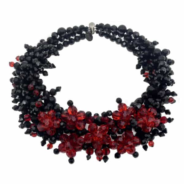 Jewel Crystal Choker Ruby - 3 strands - Ruby / Jet crystals