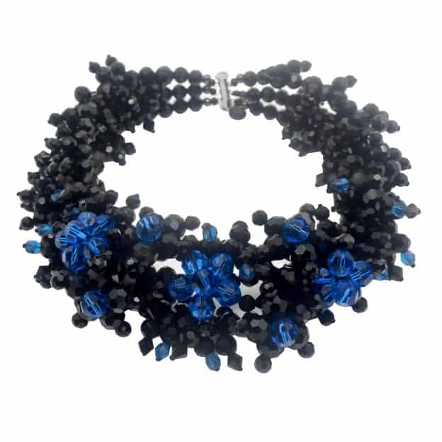 Jewel Crystal Choker Sapphire - 3 strands - Sapphire / Jet crystals