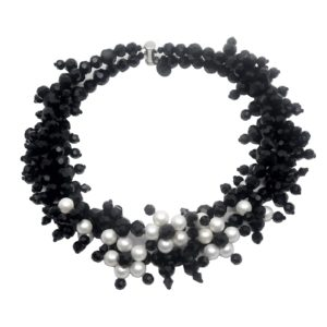 Jewel Crystal Choker Pearls - 2 strands - Shell pearl jewels