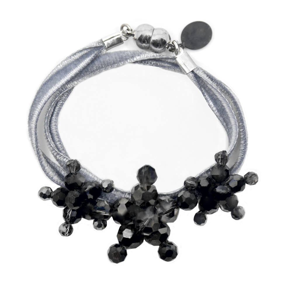 Velvet Bracelet Silver Metallic - Silver two-sided velvet - Silver Night Metallic Swarovski crystal Jewels