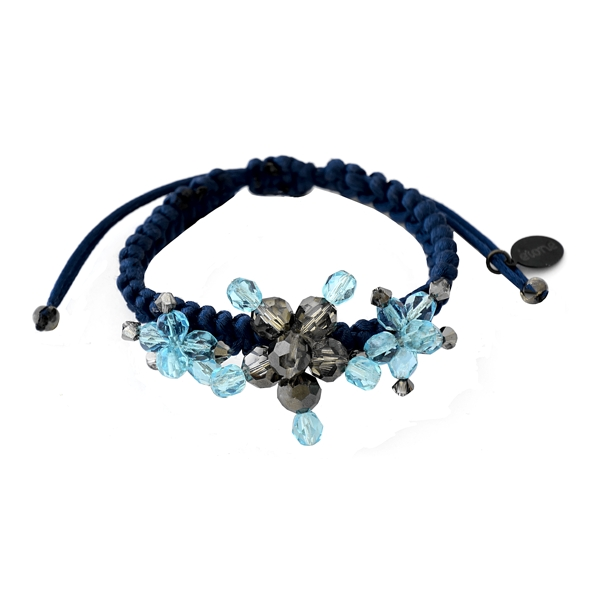 Aquamarine Braided Bracelet - Aquamarine / Silver Night Swarovski crystals