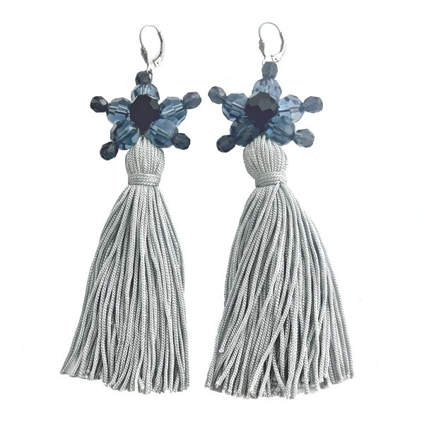 Jewel Tassel Drop Earrings - Light blue Tassels - Denim / Montana blue Swarovski crystals