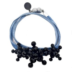 Velvet Bracelet Denim Blue - Denim two sided Velvet - Jet Crystal Jewels