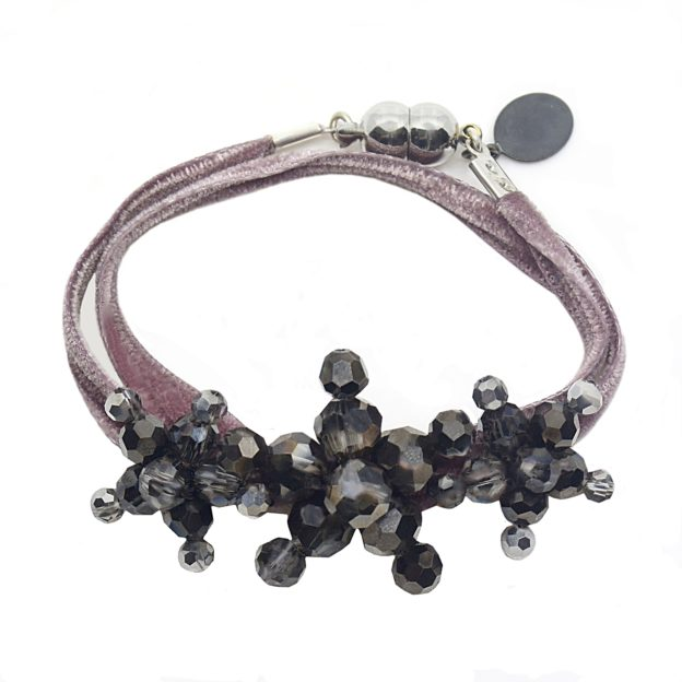Velvet Bracelet Dusty Rose Metallic - Dusty Rose two-sided Velvet - Metallic Silver Night Crystal Jewels