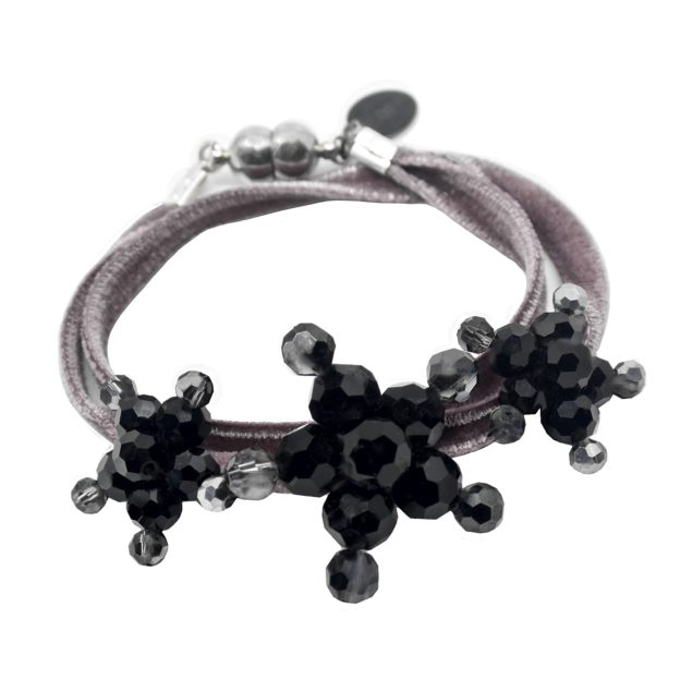 Velvet Bracelet Dusty Rose - Dusty Rose two-sided Velvet - Jet Crystal Jewels
