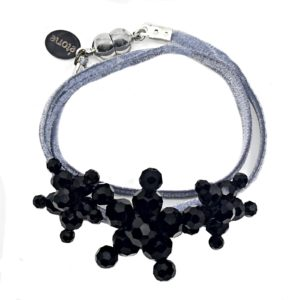 Velvet Bracelet Silver - Silver two-sided Velvet - Jet Crystal Jewels