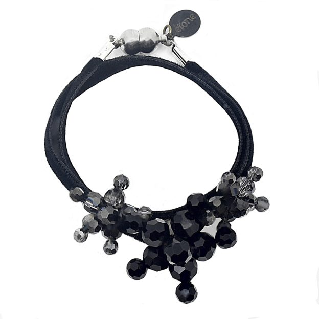 Bracelet Black - Black Velvet Ribbon - Jet Crystal Jewels