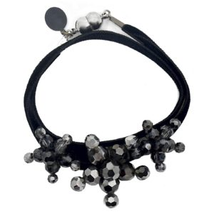 Velvet Bracelet Black Metallic - Black two-sided Velvet - Metallic Silver Night Crystal Jewels